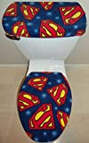 Superman Symbol Logo Fleece Fabric Toilet Seat Cover Set