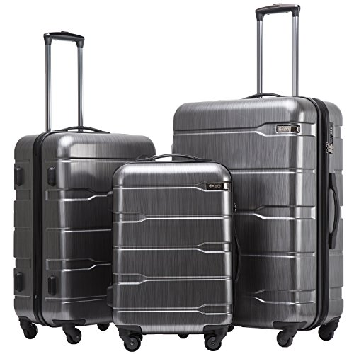 Coolife Luggage Expandable 3 Piece Sets PC+ABS Spinner Suitcase 20 inch 24 inch 28 inch (Charcoal new)