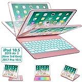 iPad Pro 10.5 Keyboard Case for iPad Pro 10.5 inch 2017 /iPad Air 10.5 (3rd Gen) 2019, 360 Rotate BT/Wireless Backlit Keyboard Case/Smart Auto Sleep-Wake Case/Ultra-Thin Keyboard Cover (Rose Gold)