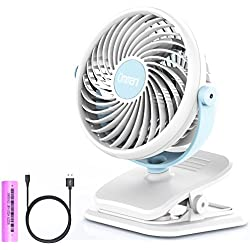 Ommani Clip on Fan, USB or 2600mAh Rechargeable Battery Operated Fan Small Desk Fan Whisper Quiet with 4 Speed Swivel 360°, Portable Stroller Fan for Baby Stroller Home Office Camping Outdoors
