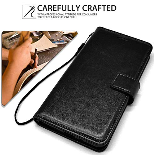 Qlez Full Leather Flip Cover with Unbreakable Glass for Xiaomi Redmi Note 5/ Mi Note 5 |Inner TPU | Foldable Stand | Wallet Card Slots - Smooth Black 4