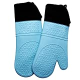 Silicone Oven Mitts with Quilted Cotton Lining - Professional Heat Resistant Kitchen Pot Holders - 1 Pair