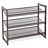 SONGMICS ULMR03A 3-Tier Stackable Metal Rack Flat & Slant Adjustable Shoe Organizer Shelf for Closet Bedroom Entryway 29.1'x 12.2' x 24.7' Bronze