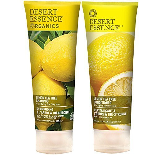 Desert Essence All Natural Organic Lemon Tea Tree Oil Cleansing Shampoo and Conditioner Bundle With Aloe Vera, Kelp, Nettle, Yucca, Jojoba and Willow, 8 fl. oz. each