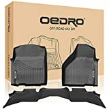 oEdRo Floor mats Liners Compatible for 2013-2018 Dodge Ram 1500 Quad Cab - Unique Black TPE All-Weather Guard, Includes 1st & 2nd Front Row and Rear Floor Liner Set