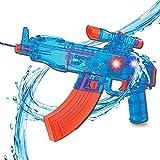 Liberty Imports Battery Operated Motorized Automatic Electric Super Water Gun Soaker Blaster (Blue (AK-47))