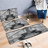 FashSam 3 Piece Flannel Doormat Vintage Acoustic Instrument Guitar Hanged on Old Wooden Door Fences Country Ranch for Kitchen Rugs Carpet(W15.7xL23.6 by W19.6xL31.5 by W17.7xL53)