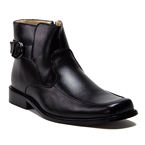 J'aime Aldo New Men's 38306 Leather Lined Ankle High Square Toe Buckle Accent Dress Boots, Black, 10