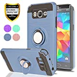 YmhxcY Galaxy Grand Prime Case, Galaxy J2 Prime Case with HD Screen Protector, 360 Degree Rotating Ring & Bracket Rubber Dual Layer Shock Bumper Resistant Back Cover for Samsung G530H-ZH Metal Slate