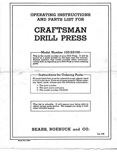 "1946 Craftsman 103.23100 12-1/4"" Drill Press Operating Instructions Parts Lis..."
