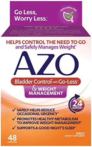 AZO Bladder Control with Go-Less® & Weight Management Dietary Supplement | Helps Reduce Occasional Urgency* | Promotes Healthy Metabolism* | Supports a Good Night's Sleep* | 48 Capsules 1