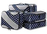 6 Set Packing Cubes,3 Various Sizes Travel Luggage Packing Organizers (Navy Dot)