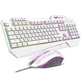 havit Keyboard Rainbow Backlit Wired Gaming Keyboard Mouse Combo, LED 104 Keys USB Ergonomic Wrist Rest Keyboard, 2400DPI 6 Button Mouse for Windows PC Gamer Desktop, Computer (White)