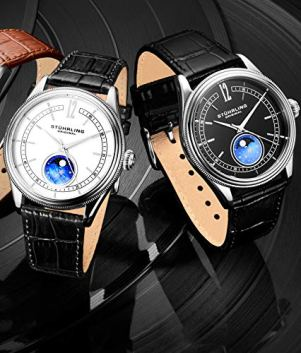 Stuhrling Original MoonPhase Dress Watch - Stainless Steel Case and Leather Band - Analog Dial - Celestia Mens Watches Collection (White)