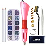 Hotfix Applicator, Afantti Rhinestone Setter Hot-fix Applicator Wand Tool Hot Fix Kit Set with 7 Tips & Hotfix Rhinestones, Pink