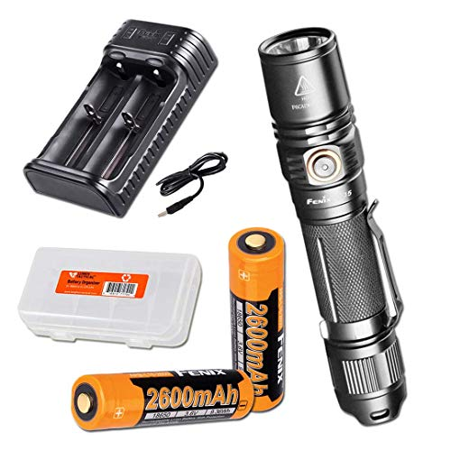 Fenix PD35 Version 2.0 2018 Upgrade 1000 Lumen Flashlight w/ 2x Fenix Rechargeable Batteries, ARE-X2 Charger and LumenTac Battery Organizer