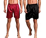 Mobarta Men's Satin Boxers Silk Sleepwear Underwear Shorts Lounge Beach Shorts (2 Pack(Black+Red), X-Large(Waist 36'-39'))