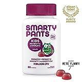 SmartyPants Kids Probiotic Complete Daily Gummy Vitamins; Probiotics & Prebiotics; Gluten Free, Digestive & Immune Support*; 4 billion CFU, Vegan, Non-GMO, Grape Flavor, 60 Count (30 Day Supply)