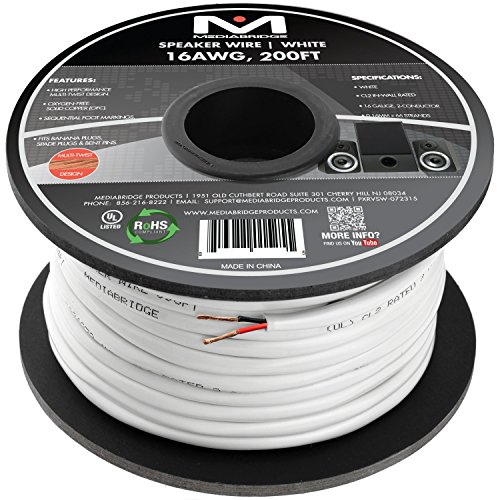 Mediabridge 16AWG 2-Conductor Speaker Wire (200 Feet, White) - 99.9% Oxygen Free Copper - UL Listed CL2 Rated for in-Wall Use (Part# SW-16X2-200-WH)