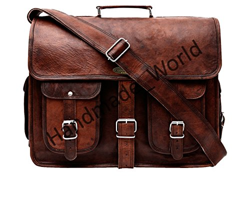 Handmade World Leather Messenger Bag - 16 Inch Briefcases for Men Brown Leather Laptop Bag- Vintage Look Satchel