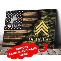 Personalized US Army Veteran American Flag Canvas