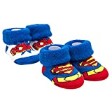 Superman Anti-Slip Cozy Baby Booties for Boys, Disney Cartoon Newborn Friend, Socks for Toddlers, 2 Pack