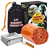 Vijoly Life Bivy Emergency Sleeping Bag - Survival Sleeping Bag Thermal Bivy with Safety Whistle - Ultralight Waterproof Survival Tent Outdoor, Camping, Hiking + Emergency Survival Blanket