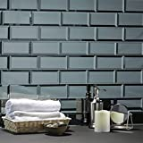 """Abolos Reflections Subway Graphite Blue Gray 3"""" x 6"""" Beveled Glossy Smooth Glass Reflective Mirror Decorative Bathroom Back-Splash Wall Tile (112 Tiles (Case), Graphite/Blue Gray)"""