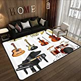 Non Slip Absorbent Carpet,Music Decor,Collection of Musical Instruments Symphony Orchestra Concert Composition 71'x 106' Kids Bedroom Mats Decorative