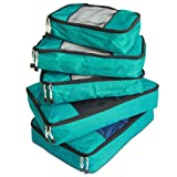 TravelWise Packing Cube System - Durable 5 Piece Weekender Plus Set (Teal)