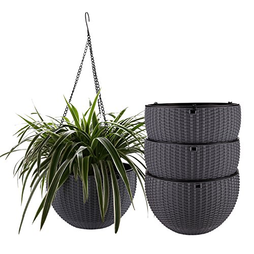 T4U Plastic Hanging Planter Grey Pack of 4, Self Watering Basket Round Flower Plant Orchid Herb Holder Container for Home Office Garden Porch Balcony Wall Indoor Outdoor Decoration Gift