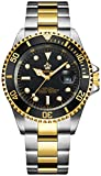 Mens Luxury Watches Ceramic Bezel Sapphire Glass Luminous Quartz Silver Gold Two Tone Stainless Steel Watch (Gold Black)