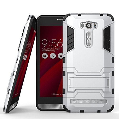 MaiJin Case for Asus ZenFone 2 Laser ZE601KL (6 inch) 2 in 1 Shockproof with Kickstand Feature Hybrid Dual Layer Armor Defender Protective Cover (Silver)