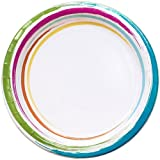 Nicole Home Collection 24 Count Brushstrokes Dinnerware Paper Plate, 10-Inch