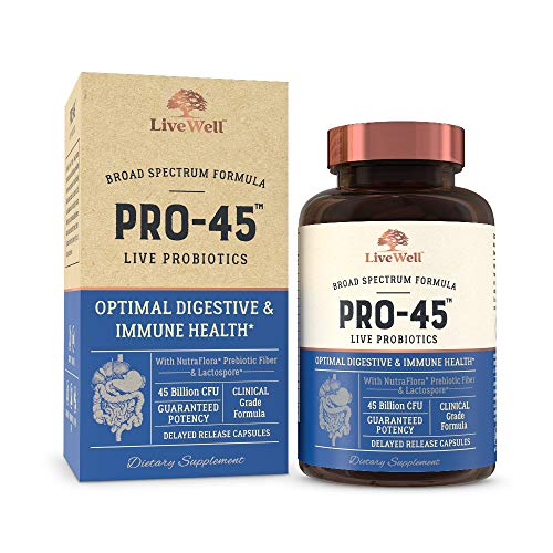 PRO45: #1 CLINICAL GRADE Probiotic Formula, 45 billion CFU, 11 patented strains. Dairy Free. Delayed release veggie caps. Promotes immune and digestive health. 30 Day Supply (1)