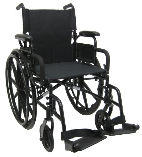 Karman Healthcare 802N-DY Aluminum Lightweight Wheelchair with Flip Back Armrests, Swing Away Footrests, Black, 16 Inches Seat Width