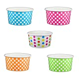 Black Cat Avenue Paper Ice Cream Cups, Polka Dot, Mix, 6 Ounce, 50 Count