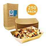 [250 Pack] 3 lb Heavy Duty Disposable Kraft Brown Paper Food Trays Grease Resistant Fast Food Paperboard Boat Basket for Parties Fairs Picnics Carnivals, Holds Tacos Nachos Fries Hot Corn Dogs