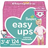 Pampers Easy Ups Pull On Disposable Potty Training Underwear for Girls, Size 5 (3T-4T), 124 Count (Packaging May Vary)
