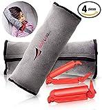 Seatbelt Pillow: 2-Piece Soft Plush Car Seat Belt Cover + 2 Red Seatbelt Clips Set  Safety Belt Protector Pad for Kids Washable Seatbelt Headrest for Shoulder & Neck Support  Top Gifting Idea