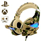 Gaming Headset for Xbox One PS4 PC, Beexcellent Deep Bass Headphone with Mic & LED Light, Noise Immunity, Friction-Reduction Cable, High-Comfort Earmuff(Dazzle Camo)