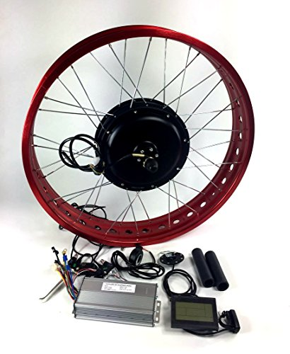 "Red Rim 48V 1000W Gearless Hub Motor, 26"" 4.0 inch Fat Tire,Electric Fat Bike DIY Conversion Kits with LCD Display, Fat tire Kit."