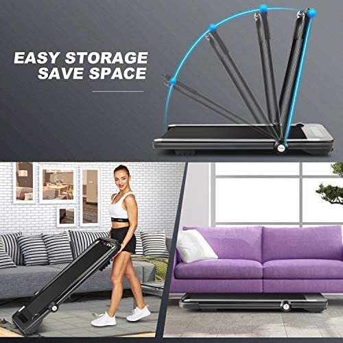 Folding Treadmill,Under Desk Treadmill for Home,2-in-1 Running,Walking & Jogging Portable Running Machine with Bluetooth Speaker & Remote Control,5 Modes & 12 Programs,No Assembly Required 3