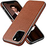 Diaclara iPhone 11 Pro Max Case Leather Handmade Prime Cover Business Thin Full Body Protective Shell with Shinning Edge Never Faded for Apple-6.5'' (Brown)