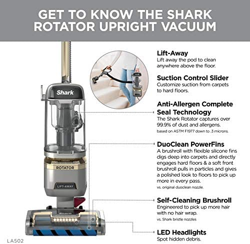 Shark LA502 Rotator Lift-Away ADV DuoClean PowerFins Upright Vacuum with Self-Cleaning Brushroll Powerful Pet Hair Pickup and HEPA Filter, 0.89 Quart Dust Cup Capacity, Silver 22