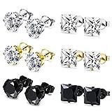 JOERICA 6 Pairs Stainless Steel Stud Earrings for Men Women CZ Earrings,8MM