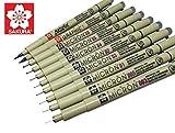 Sakura Pigma Micron 10 Fineliner pens Black Archival ink Artist drawing sketch pens (003, 005, 01, 02, 03, 04, 05, 08), Graphic 1 & brush pen set