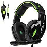 SUPSOO G813 Xbox one Gaming Headset 3.5mm Stereo Wired Over Ear Gaming Headset with Mic&Noise Cancelling & Volume Control for Xbox One/PC/Mac/PS4/Nintendo/Phone (Black&Green)