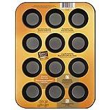 Baker's Secret 1114367 Essentials 12-Cup Muffin Pan, Mini, Black