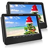 WONNIE 10.5'' Dual Portable DVD Player for Car Built-in Rechargeable Battery, USB&SD Card Readers, Great Gifts for Kids